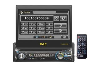 Pyle   7'' Single DIN In Dash Detachable Motorized Touch Screen TFT/LCD Monitor w/ DVD/CD//MP4/USB/SD/AM FM Bluetooth Receiver